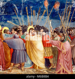 Kiss of Judas - The disciple on the left, who wounds a soldier with his knife, is Saint Peter. Giotto di Bondone, - Stock Photo