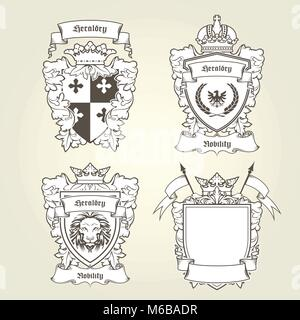 Coat of arms templates - heraldic shield with blazons - Stock Photo