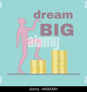 Woman stepping up piles of coins illustration - dream big and strive for more concept illustration - Stock Photo