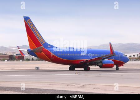 LAS VEGAS, USA - APRIL 15, 2014: Boeing 737 of Southwest Airlines at Las Vegas McCarran International Airport. Southwest - Stock Photo