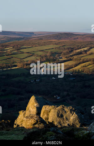 Widecombe in the moor from Bonehill rocks, Dartmoor National Park with The church of St Pancras in the distance - Stock Photo