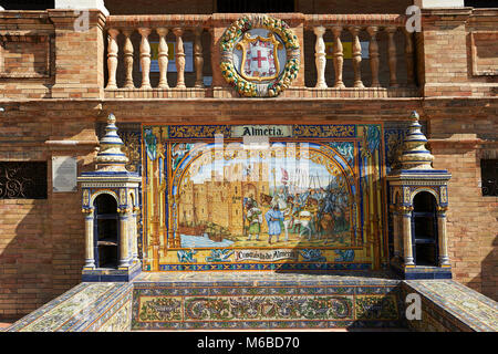 The Almera tiled Alcove along the walls of the Plaza de Espana in Seville built in 1928 for the Ibero-American Exposition - Stock Photo