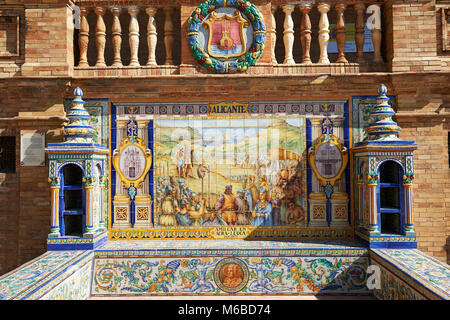 The tiled Alicante Alcove along the walls of the Plaza de Espana in Seville built in 1928 for the Ibero-American - Stock Photo