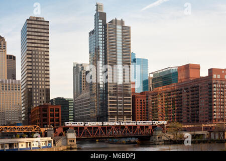 Train over the Chicago River on Lake Street, Chicago, Illinois, USA - Stock Photo