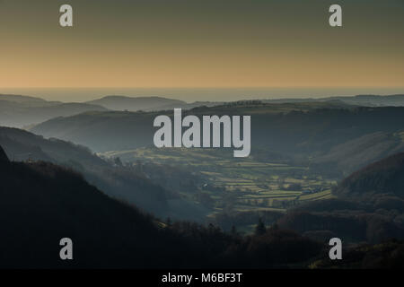 The Melindwr Valley seen from the Bwlch Nant yr Arian Forest Visitor Centre viewpoint, near Aberystwyth, Ceredigion, - Stock Photo