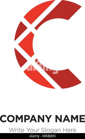 C Letter Logo with red connected line elements. Abstract geometric design, Elegant Alphabet logotype. - Stock Photo