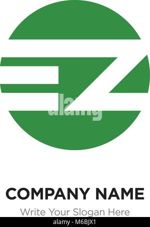 Abstract letter EZ ZE logo design template, green Alphabet initial letters company name concept. Flat thin line - Stock Photo