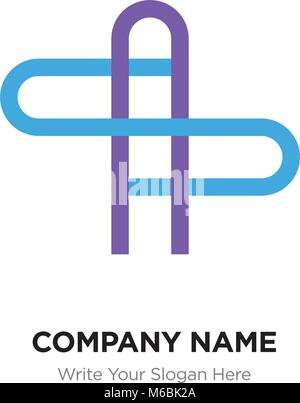 AS or SA Letter Logo with blue and purple line elements. Abstract geometric design, Elegant Alphabet logotype. - Stock Photo