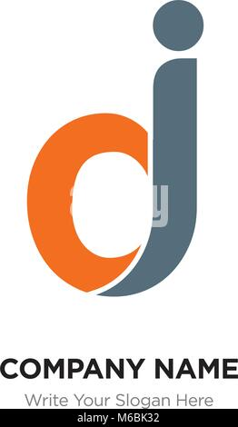 Abstract letter dj, jd logo design template, black & orange Alphabet initial letters company name concept. Flat - Stock Photo