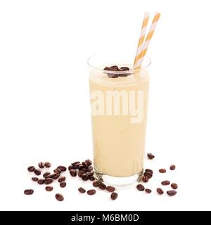 Coffee, banana smoothie in a tall glass with coffee beans. Side view, isolated on white. - Stock Photo