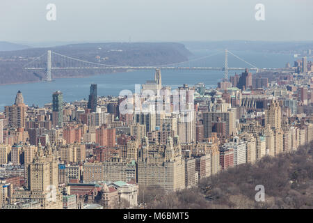 Aerial view of Upper West Side and George Washington Bridge - Stock Photo