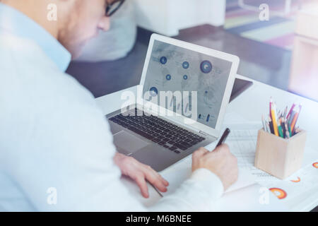 Close up of computer that standing on the table - Stock Photo