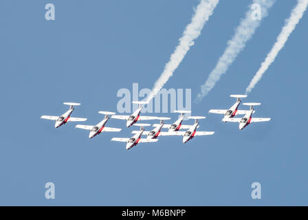 The Snowbirds, the Canadian Forces Aerobatic team, performing over Niagara-on-the-Lake as part of the Canada 150 - Stock Photo