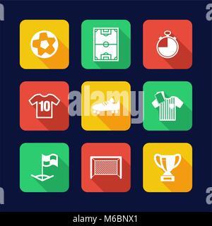 Soccer Icons Flat Design - Stock Photo