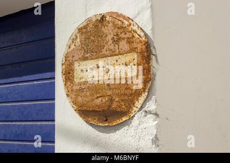 Old rusty no entry sign La Santa, Lanzarote, Canary Islands, Spain - Stock Photo