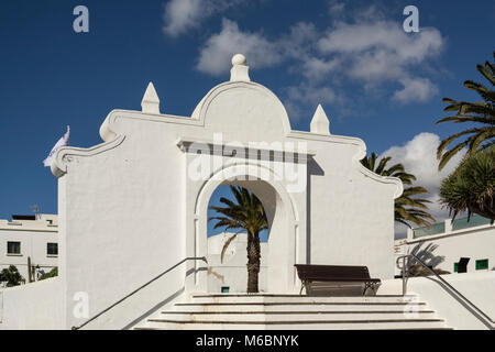 Whitewashed buildings Lanzarote Teguise White Village in Canary Islands - Stock Photo