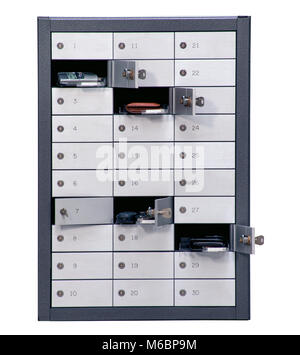 Public safe box with some belongings isolated on white with clipping path - Stock Photo