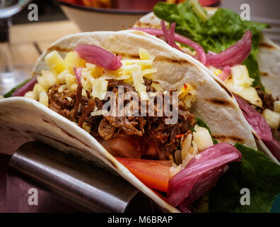 One taco on a table - Stock Photo