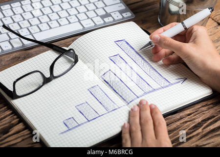 Close-up Of A Businessperson's Hand Drawing Graph With Pen On Notebook - Stock Photo
