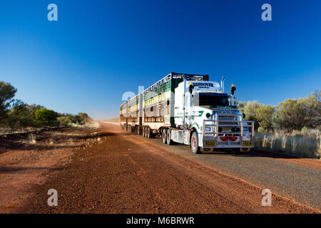 An iconic 3 trailer Australian road train travels along the Plenty Hwy near Gemtree in Northern Territory, Australia - Stock Photo