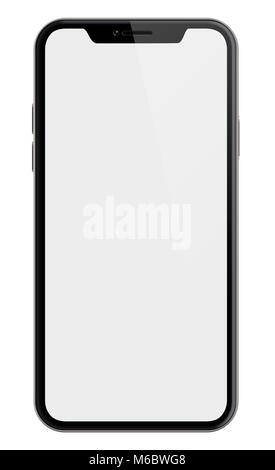 new smartphone similar to iphone X isolated on white 3d illustration with clipping path included - Stock Photo