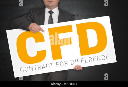 CFD poster is held by businessman. - Stock Photo