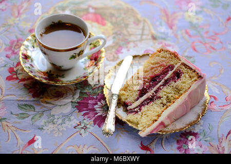 Afternoon tea and cake at Heavenly Chocolate Emporium & Cafe, Llandeilo, Carmarthenshire, Wales - Stock Photo