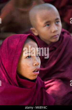young novice monks faces watching television at Aung Myae Oo Monastic Free Education School, Sagaing, Mandalay, - Stock Photo