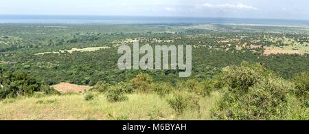 Overlooking Great Rift Valley,  Queen Elizabeth National Park including Lake Albert (distance), Uganda, Africa - Stock Photo