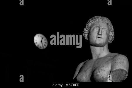 Close-up of a statue on baroque Piazza Pretoria,Palermo,Italy. - Stock Photo