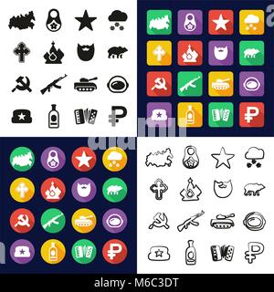 Russia All in One Icons Black & White Color Flat Design Freehand Set - Stock Photo