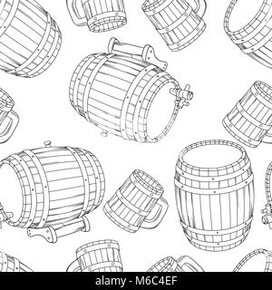 Barrel and cup seamless background. - Stock Photo