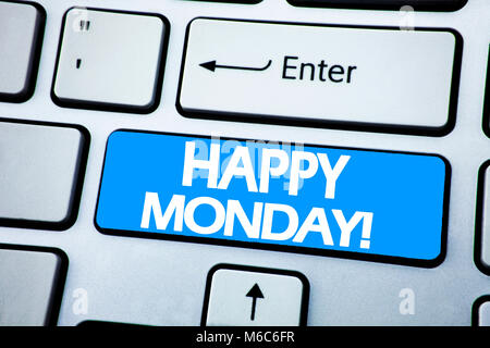 Handwriting Announcement text showing Happy Monday . Business concept for New Week Motivation written on red key - Stock Photo