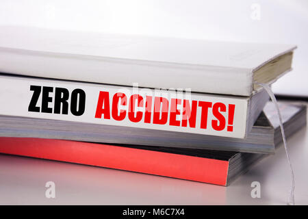 Writing text showing Zero Accidents. Business concept for Safety At Work Hazard written on the book the white background. - Stock Photo