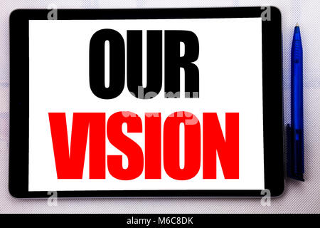 Conceptual hand writing text caption inspiration showing Our Vision. Business concept for Marketing Strategy Vision - Stock Photo