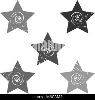 A set of stars with a curling element. Gray multi-colored light and dark shapes with a pattern. Vector image. The - Stock Photo
