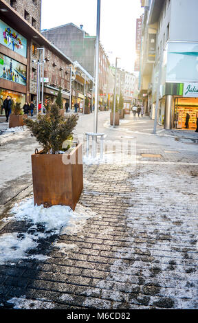 The beautiful view of the streets of Pas de la Casa  during the winter time. - Stock Photo