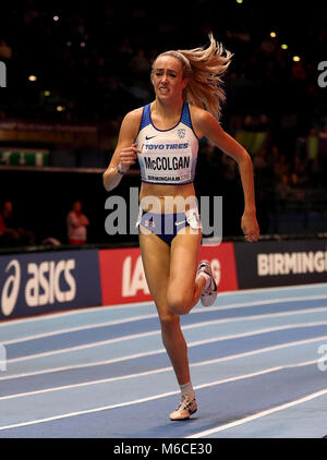 Great Britain's Eilish McColgan during the Women's 1500m Heat 2 during day two of the 2018 IAAF Indoor World Championships - Stock Photo