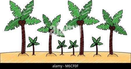 palm trees sand beach landscape  icon image  - Stock Photo
