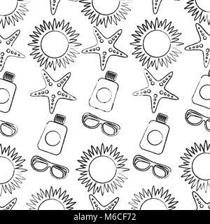 sun starfish sunscreen glasses beach pattern image  - Stock Photo