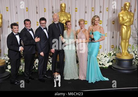 Michel Hazanavicius, Missi Pyle , Jean Dujardin, P A Miller, J Cromwell, 137  press room at the Oscar - 84th Academy - Stock Photo