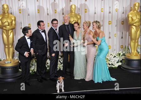 Michel Hazanavicius, Missi Pyle , Jean Dujardin, P A Miller, J Cromwell, 139  press room at the Oscar - 84th Academy - Stock Photo