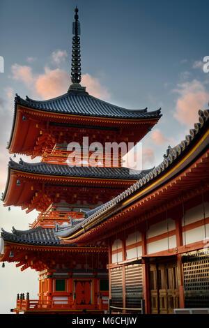 Sanjunoto, pagoda of Kiyomizu-dera, Buddhist temple in Kyoto, Japan - Stock Photo