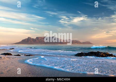 scenic view of table mountain cape town south africa from blouberg - Stock Photo