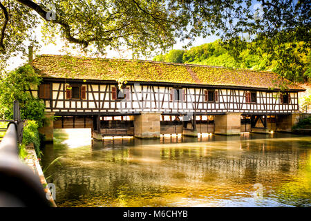 view of old brigge at  medieval tourist town esslingen am neckar in Germany - Stock Photo