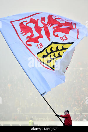 Employee with flag logo VfB Stuttgart, Mercedes-Benz Arena, Stuttgart, Baden-Württemberg, Germany - Stock Photo