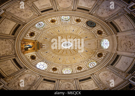 Dome in the chapter house with the picture The Immaculate Conception, by Bartolomé Esteban Murillo, Cathedral of - Stock Photo