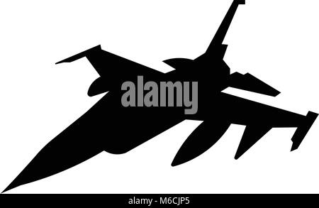 f16 silhouette on white background - Stock Photo