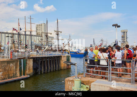 Tourists in Quebec port during the Rendez-vous 2017 Tall Ships Regatta, Quebec, Canada - Stock Photo