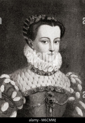 Elisabeth of Austria, 1554 – 1592.  Queen of France from 1570 to 1574 as the wife of King Charles IX.  From Hutchinson's - Stock Photo